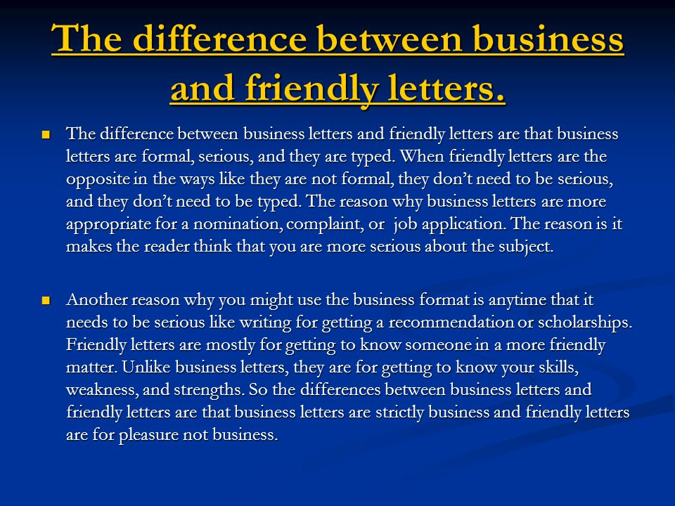the difference between business and friendly letters
