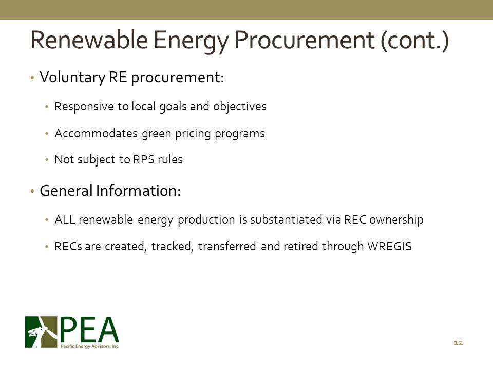 Renewable Energy Procurement (cont.)