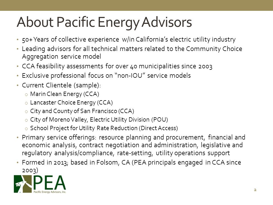 About Pacific Energy Advisors