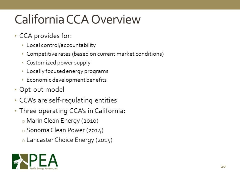 California CCA Overview