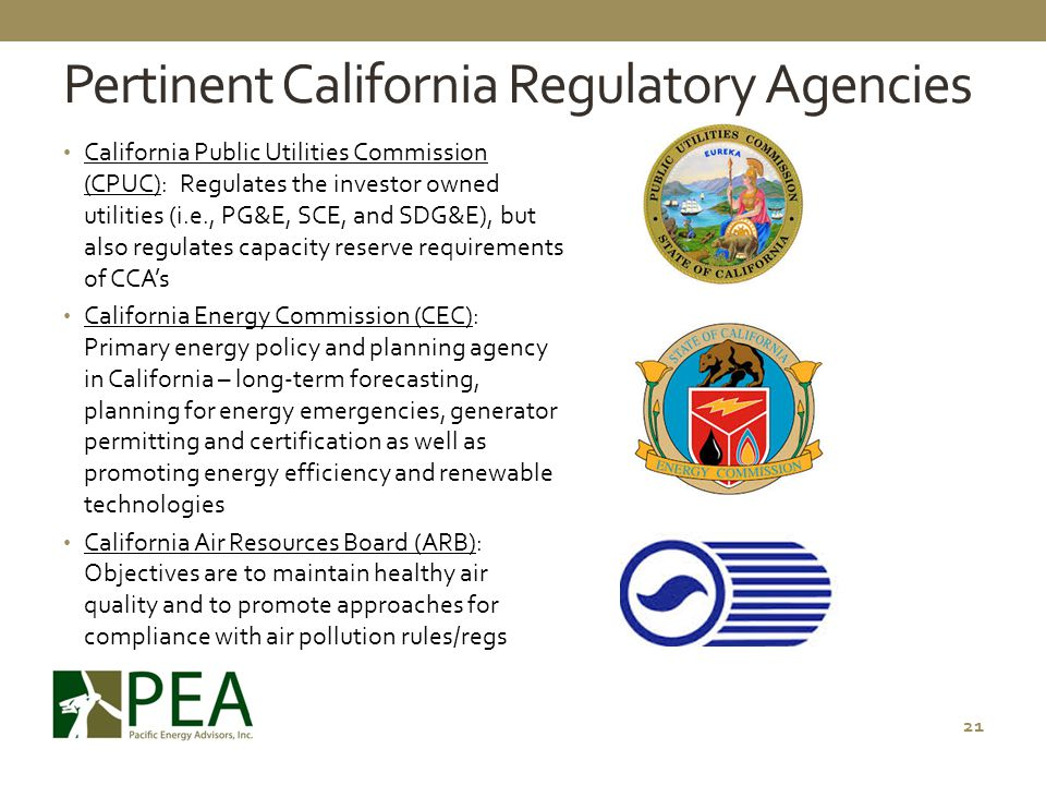 Pertinent California Regulatory Agencies