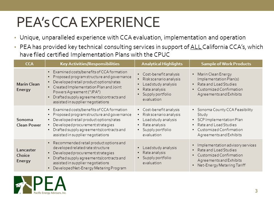 PEA's CCA EXPERIENCE Unique, unparalleled experience with CCA evaluation, implementation and operation.