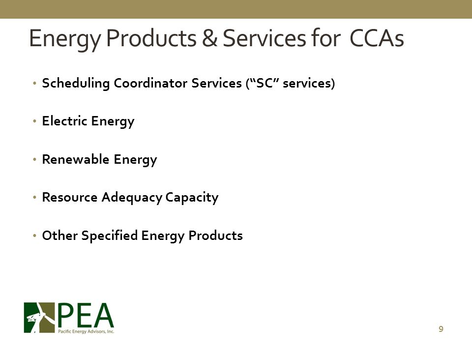 Energy Products & Services for CCAs
