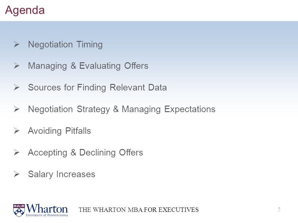 Wharton Executive MBA Salary Negotiation - ppt download