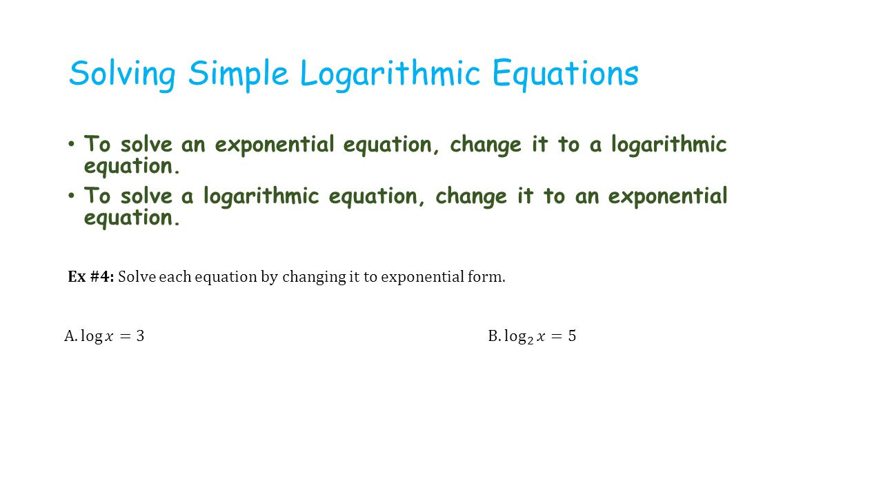 Worksheets Exponential And Logarithmic Equations Worksheet 3 functions and their graphs ppt video online download solving simple logarithmic equations