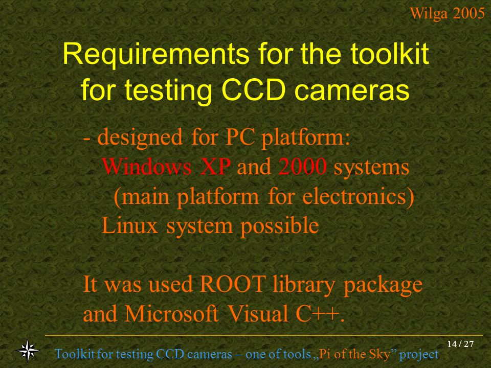 Requirements for the toolkit for testing CCD cameras