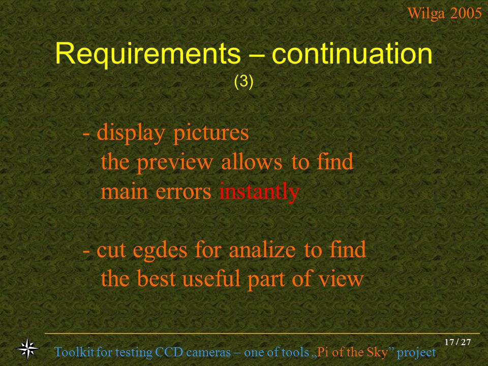 Requirements – continuation (3)