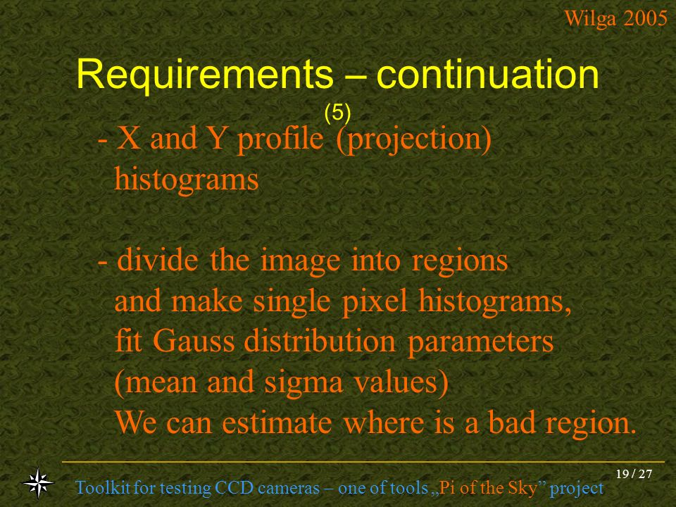 Requirements – continuation (5)
