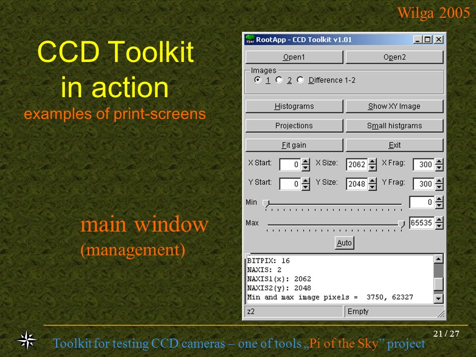 CCD Toolkit in action examples of print-screens