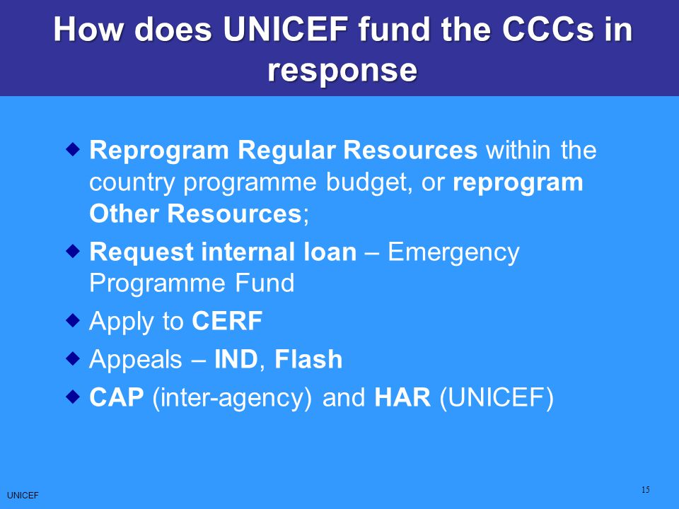 How does UNICEF fund the CCCs in response
