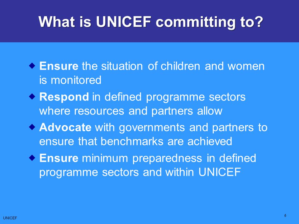 What is UNICEF committing to