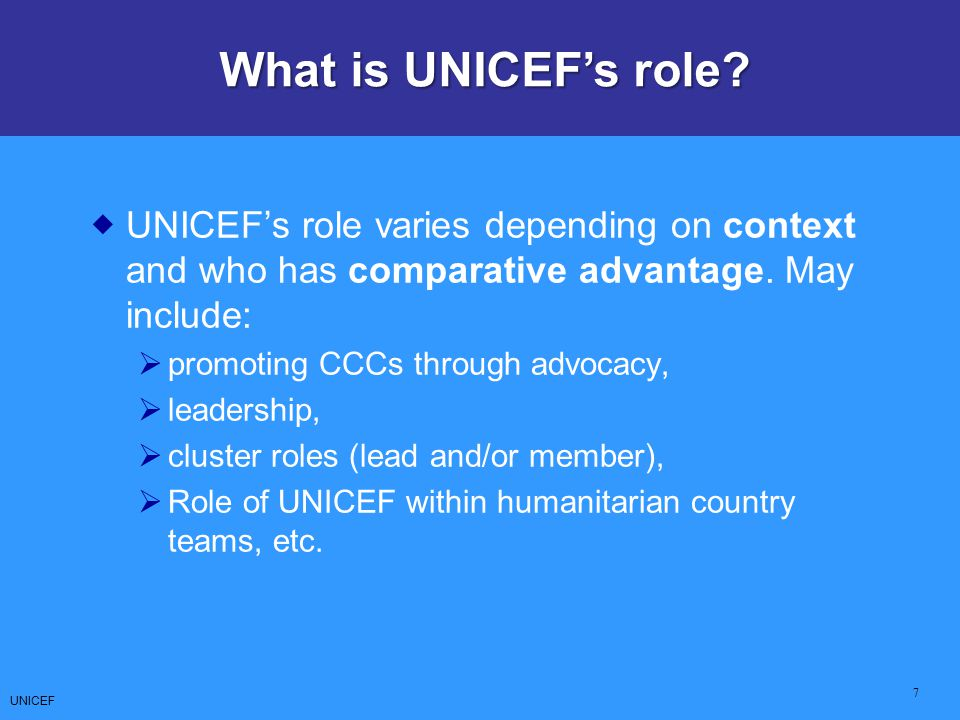 What is UNICEF's role UNICEF's role varies depending on context and who has comparative advantage. May include: