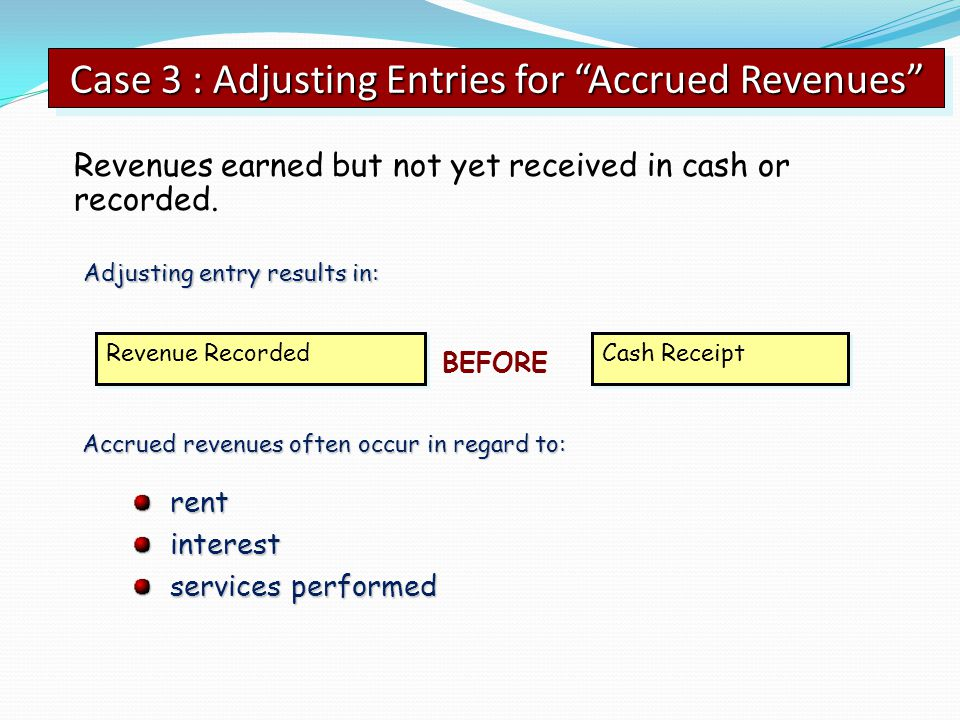 Case 3 : Adjusting Entries for Accrued Revenues