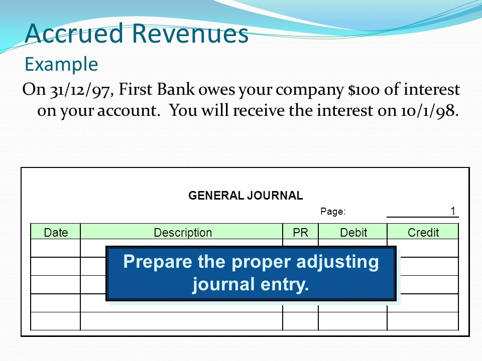 Accrued Revenues Example