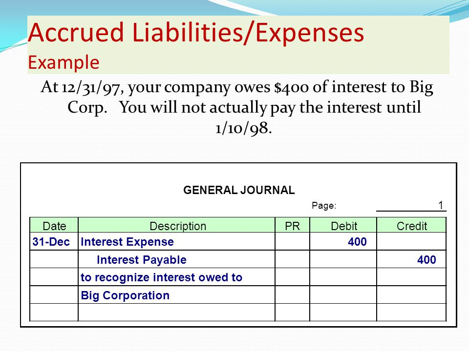 Accrued Liabilities/Expenses Example