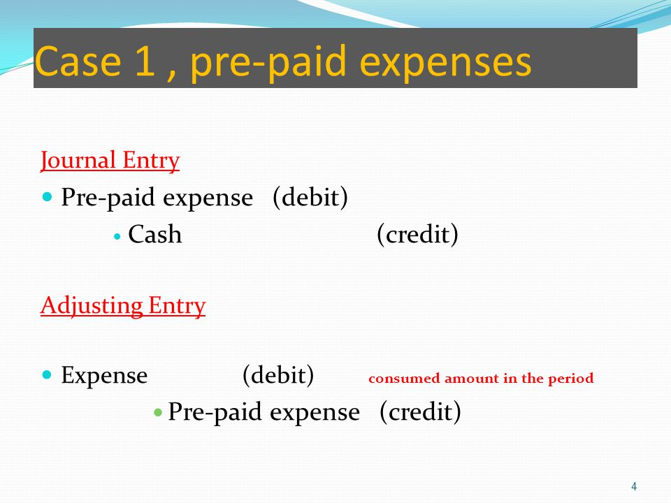 Case 1 , pre-paid expenses