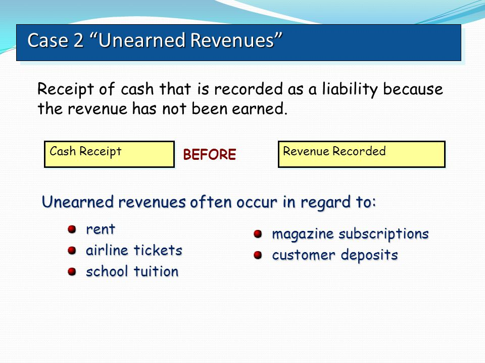 Case 2 Unearned Revenues
