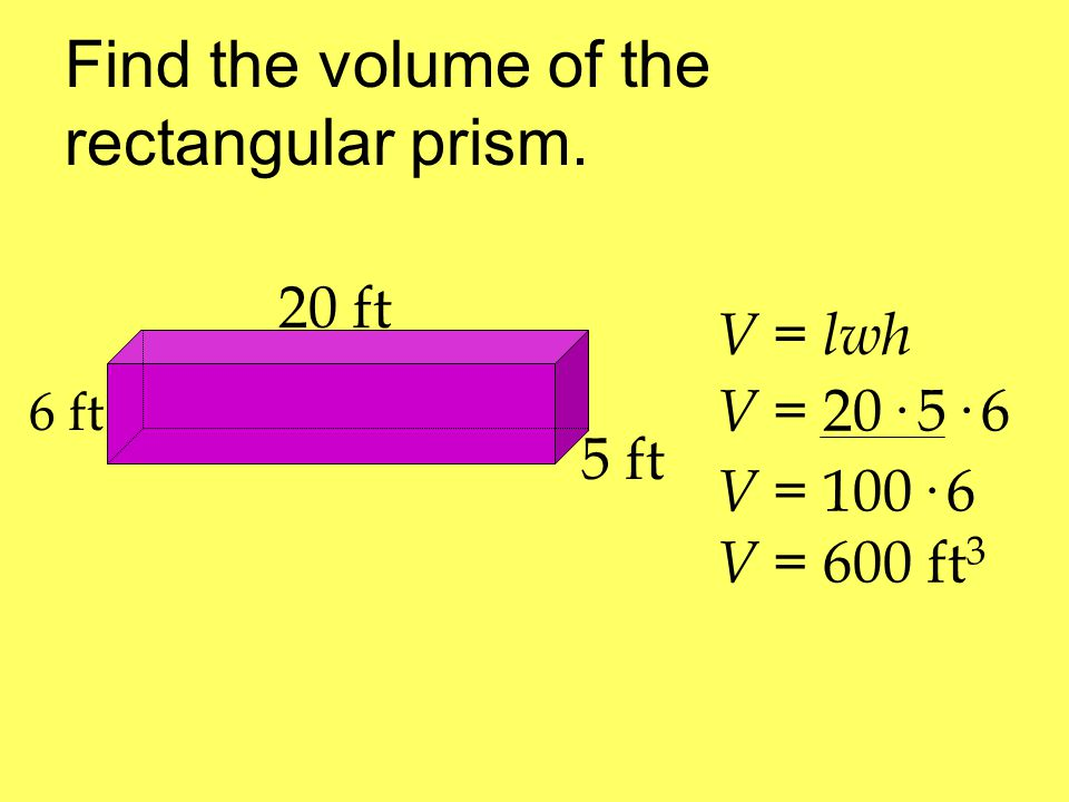 Find the volume of the rectangular prism.