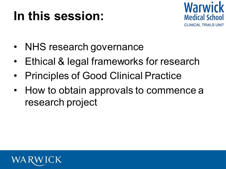 In this session: NHS research governance