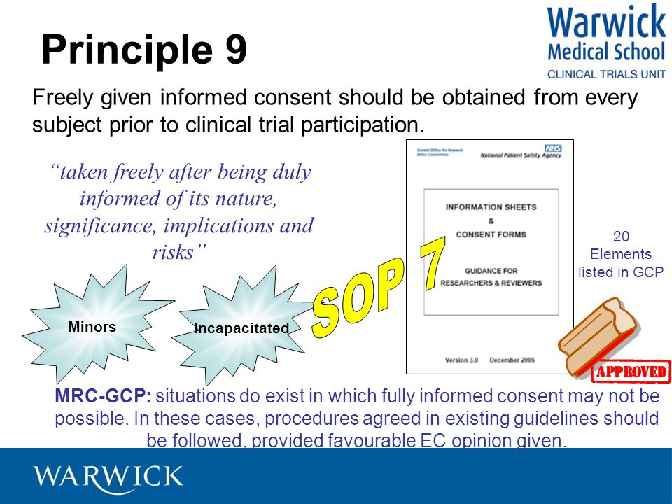 Principle 9 Freely given informed consent should be obtained from every subject prior to clinical trial participation.