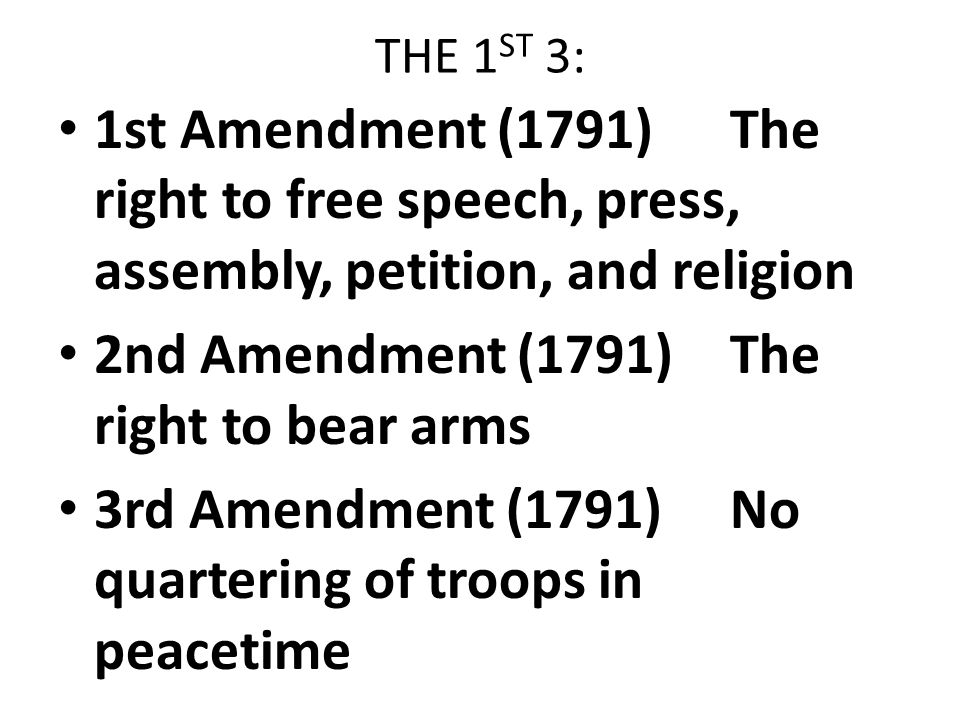 2nd Amendment 1791 The Right To Bear Arms