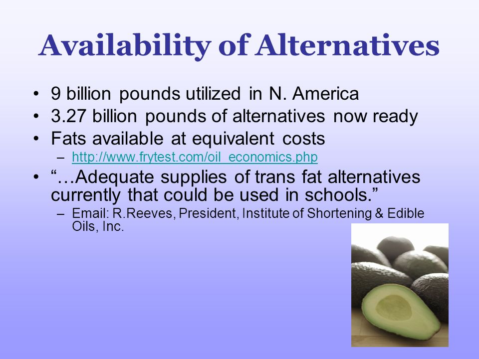 Availability of Alternatives