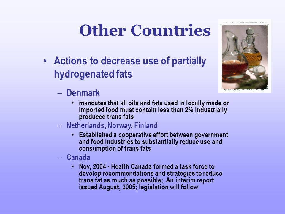 Other Countries Actions to decrease use of partially hydrogenated fats