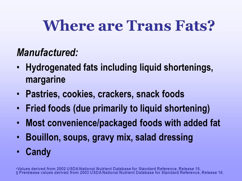 Where are Trans Fats Manufactured: