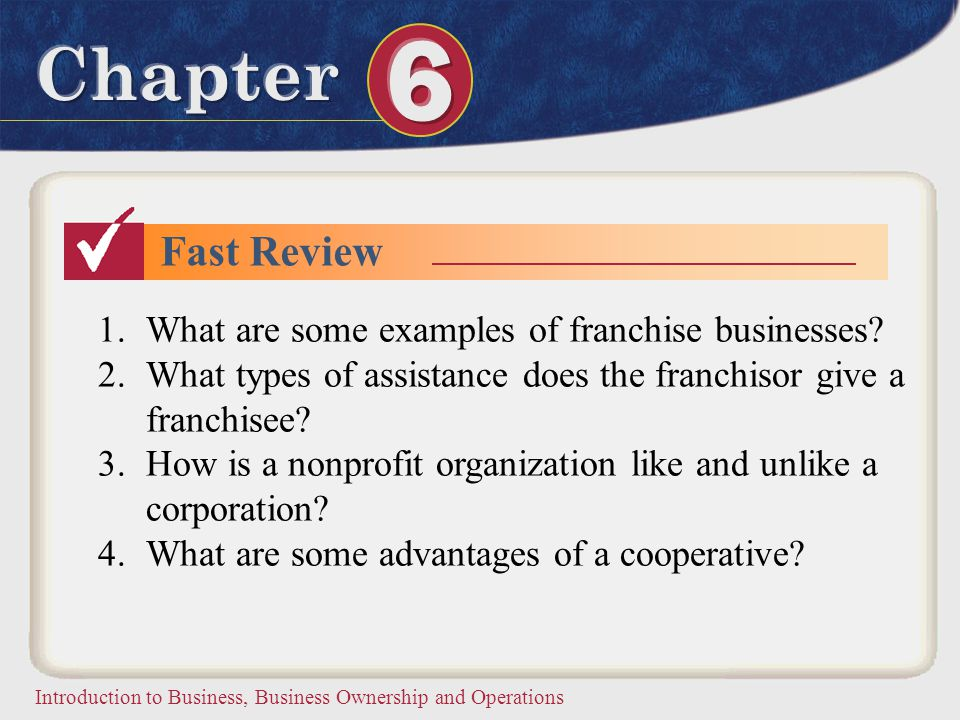 Fast Review What are some examples of franchise businesses