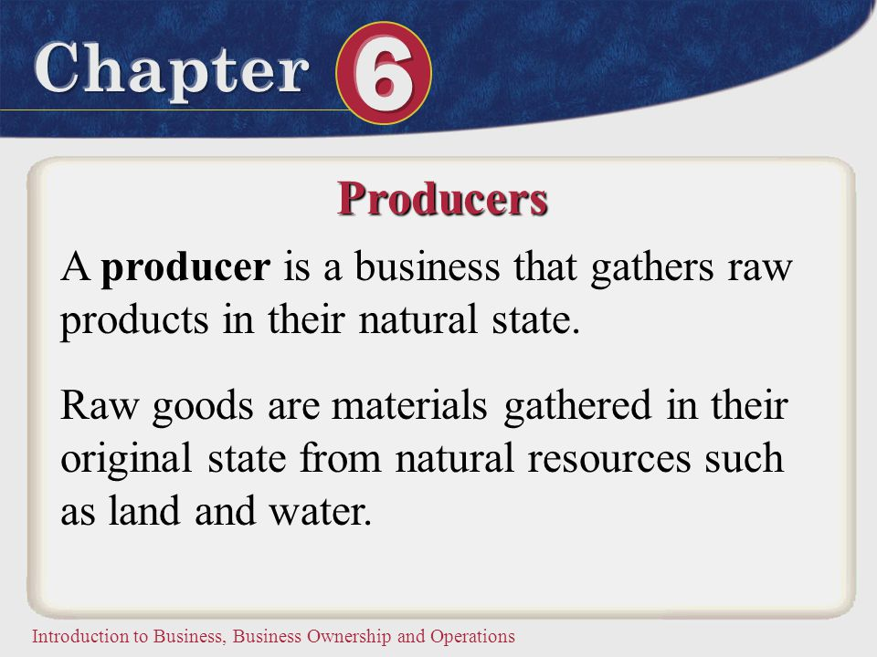 Producers A producer is a business that gathers raw products in their natural state.