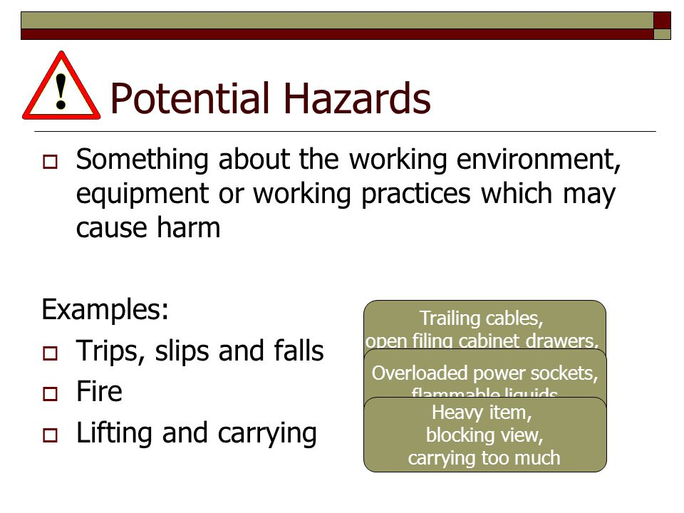 Potential Hazards Something about the working environment, equipment or working practices which may cause harm.