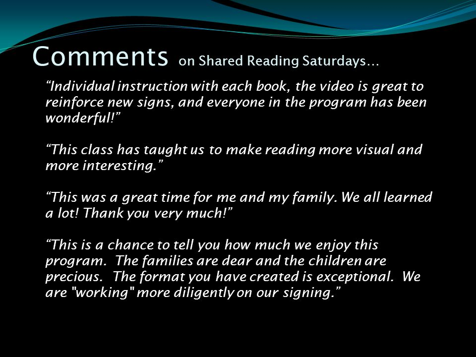 Comments on Shared Reading Saturdays…