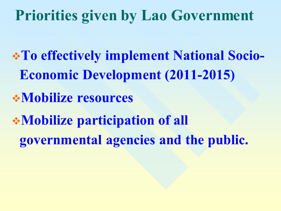Priorities given by Lao Government