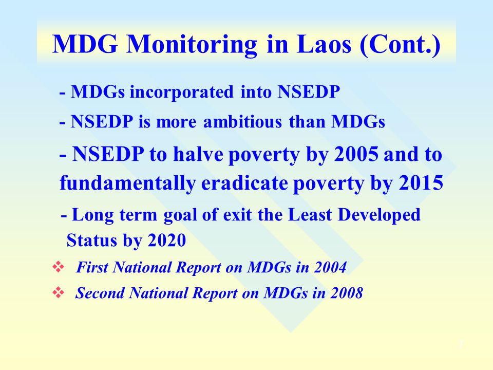MDG Monitoring in Laos (Cont.)