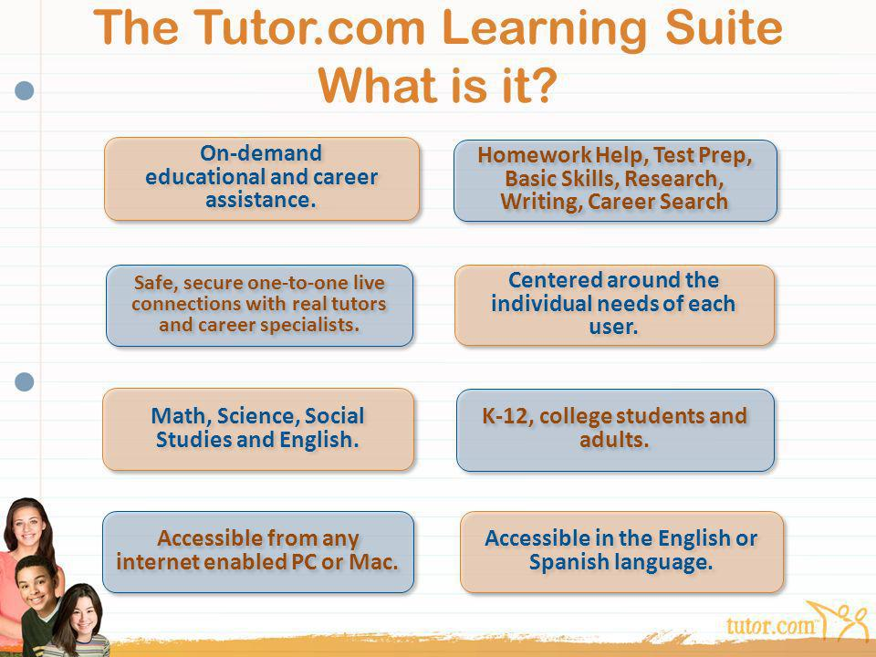 The Tutor.com Learning Suite What is it