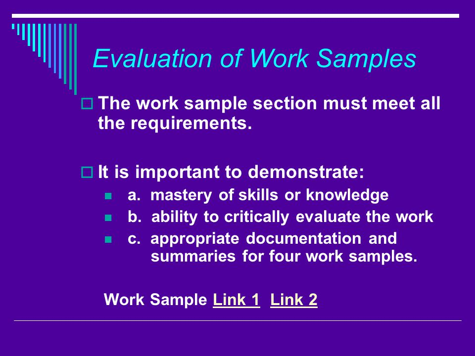 Evaluation of Work Samples