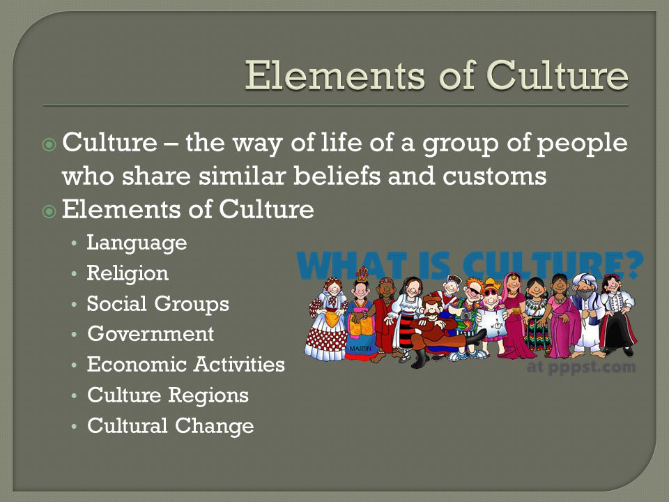 Elements of Culture Culture – the way of life of a group of people who share similar beliefs and customs.