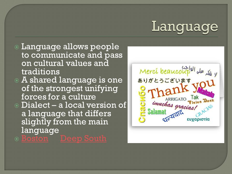 Language Language allows people to communicate and pass on cultural values and traditions.