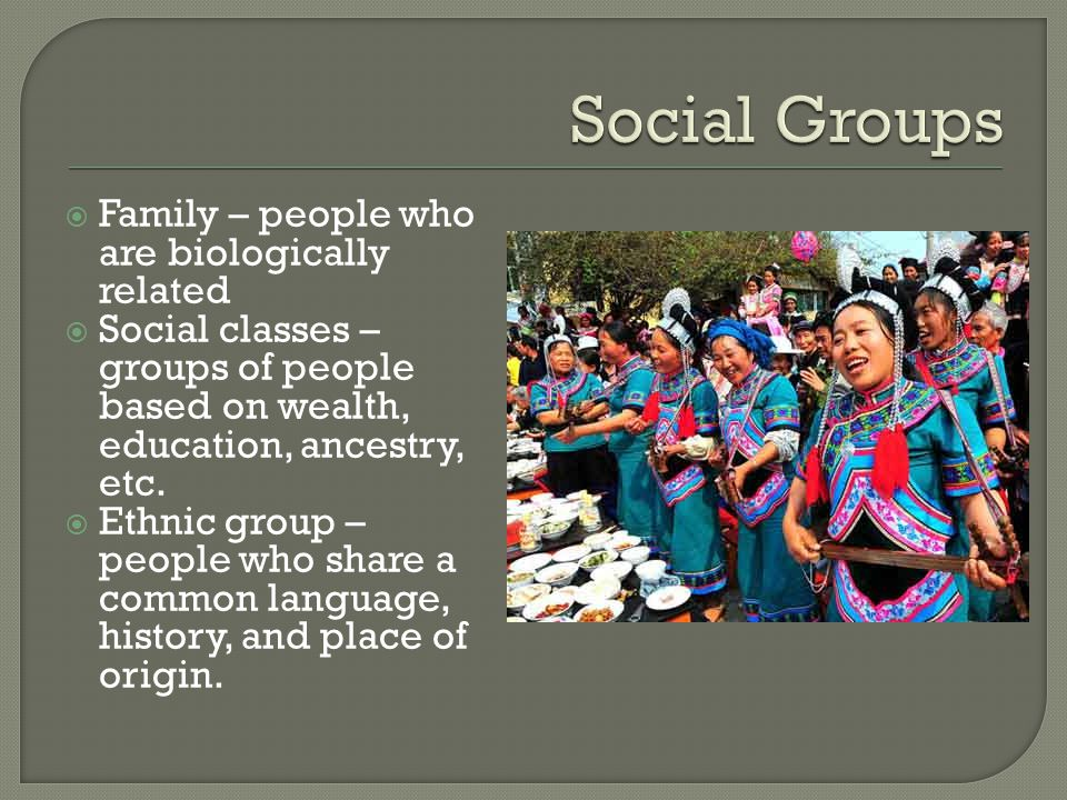 Social Groups Family – people who are biologically related