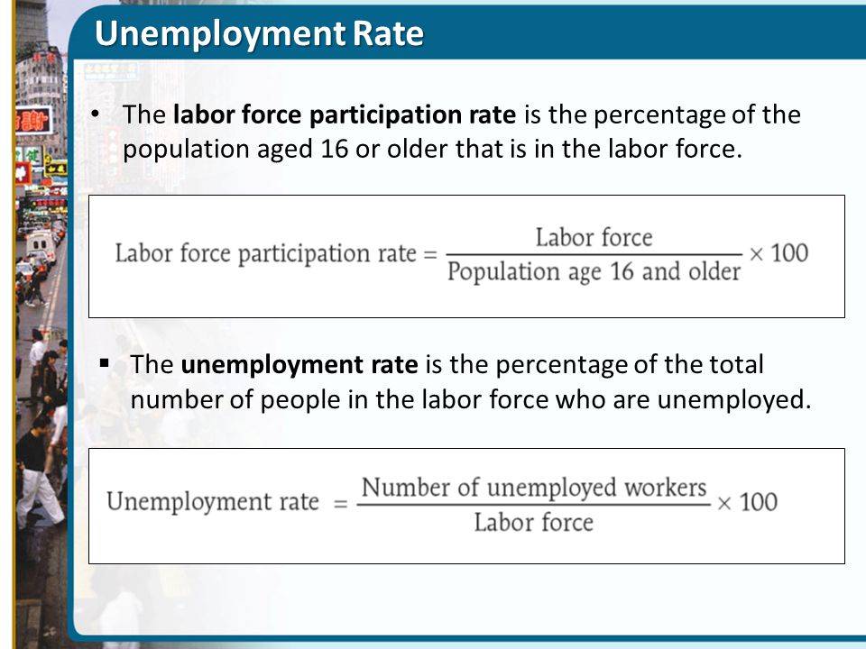 Unemployment Rate The labor force participation rate is the percentage of the population aged 16 or older that is in the labor force.