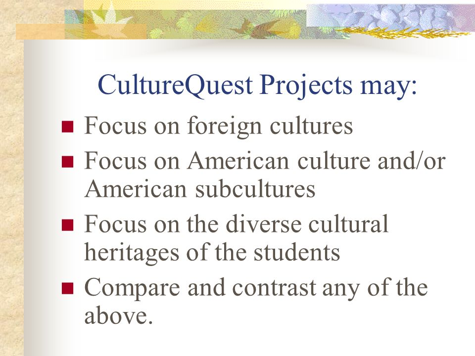 CultureQuest Projects may: