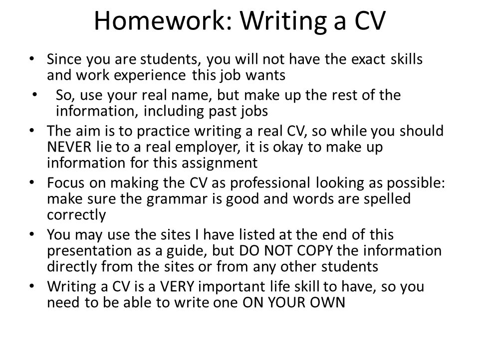 How To Write A CV Ppt Video Online Download