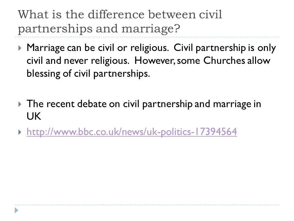What is the difference between civil partnerships and marriage