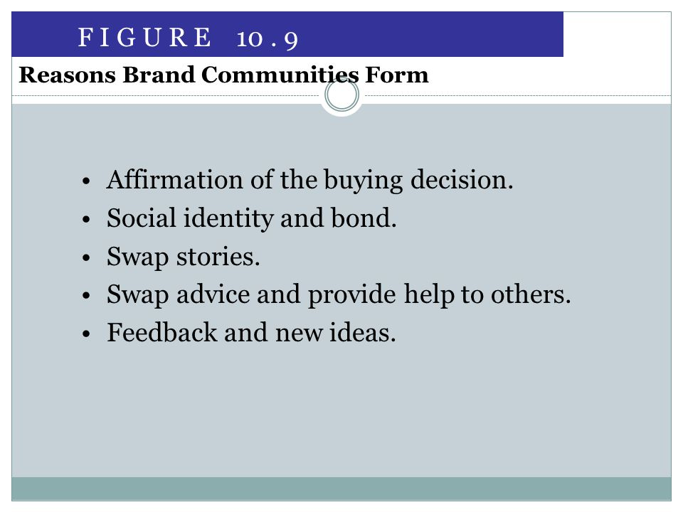 Affirmation of the buying decision. Social identity and bond.