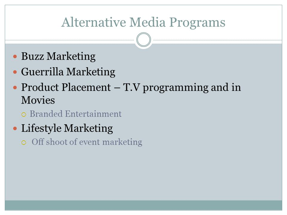 Alternative Media Programs