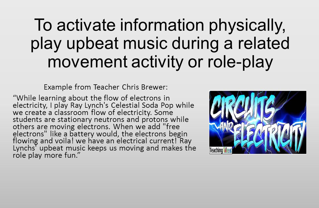 Chapter Three Integrating Music Based On The Article And Fun Activity Teaching Electricity Example From Teacher Chris Brewer