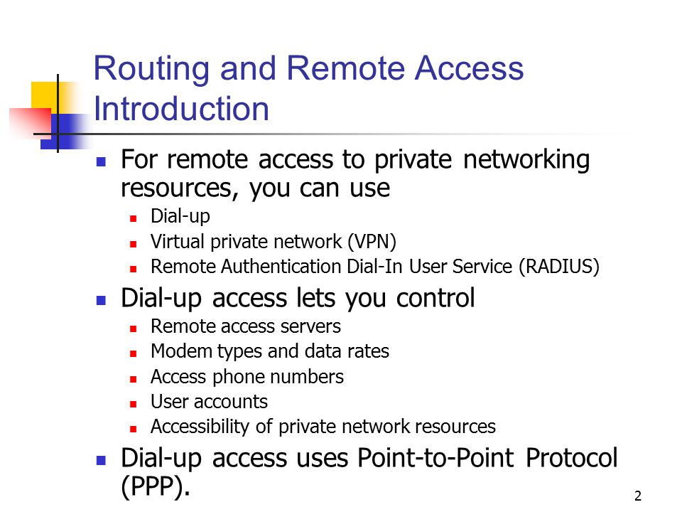 Routing and Remote Access Introduction