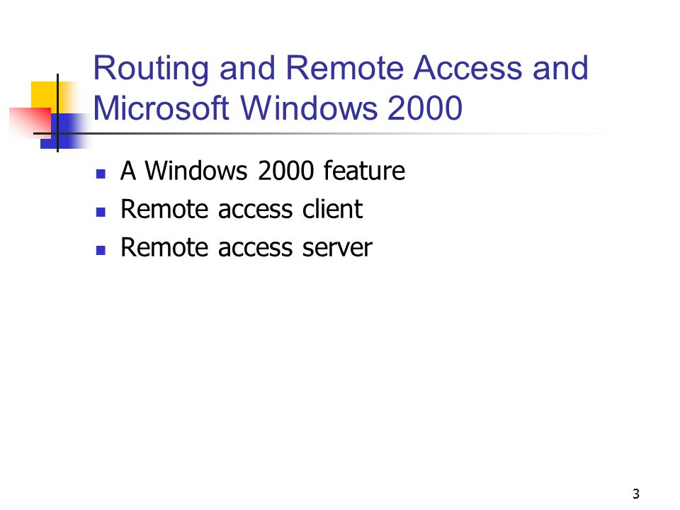 Routing and Remote Access and Microsoft Windows 2000