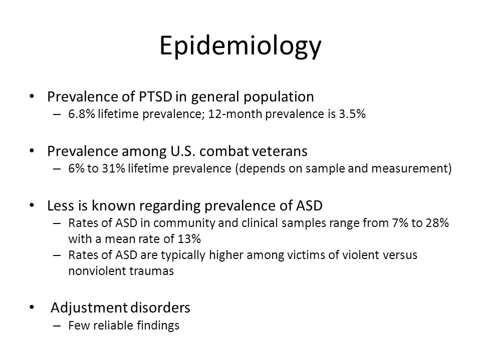 Epidemiology Prevalence of PTSD in general population