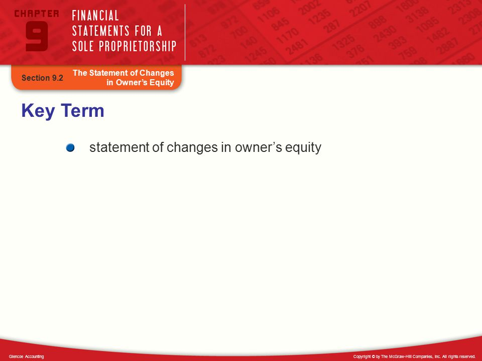Key Term statement of changes in owner's equity